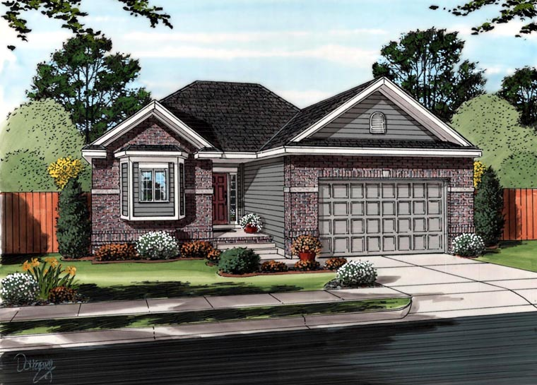 Traditional House Plan 41102 with 2 Beds, 2 Baths, 2 Car Garage Elevation