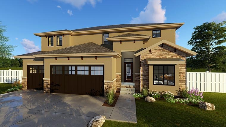 House Plan 41104 with 4 Beds, 3 Baths, 3 Car Garage Elevation
