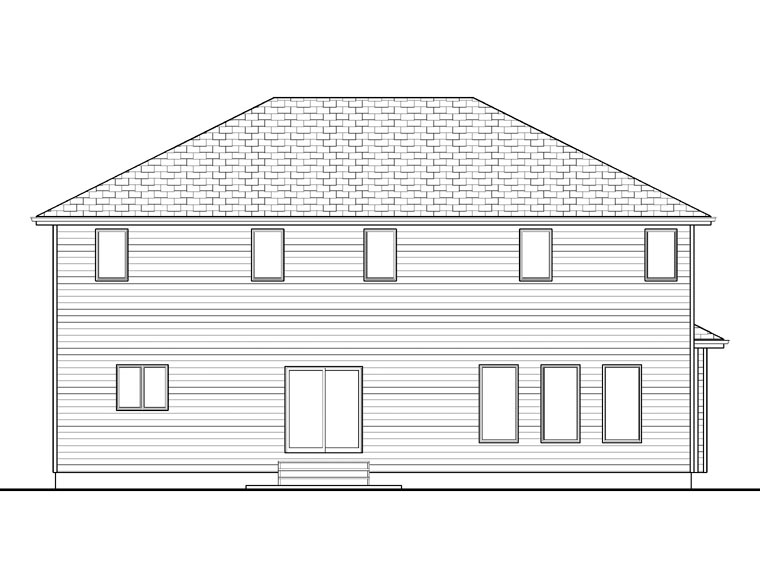 House Plan 41104 with 4 Beds, 3 Baths, 3 Car Garage Rear Elevation