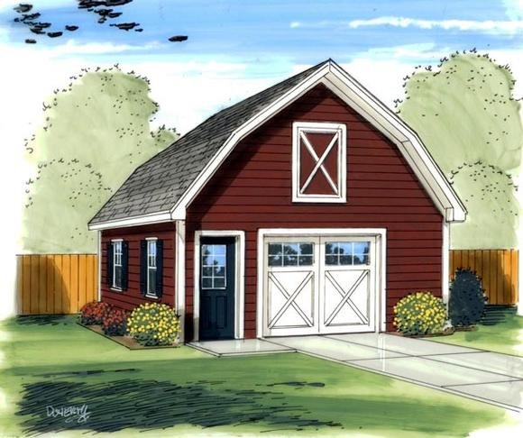 Farmhouse, Traditional 1 Car Garage Plan 41136 Elevation