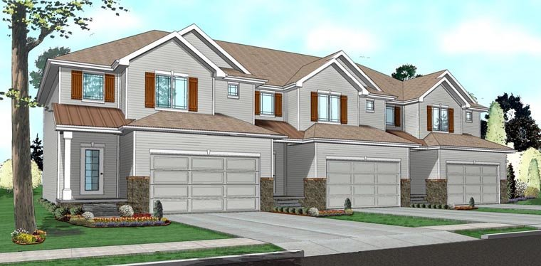 Traditional Multi-Family Plan 41141 with 9 Beds, 9 Baths, 6 Car Garage Elevation
