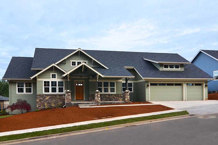 Country, Craftsman, Traditional House Plan 41201 with 3 Beds, 3 Baths, 3 Car Garage Elevation