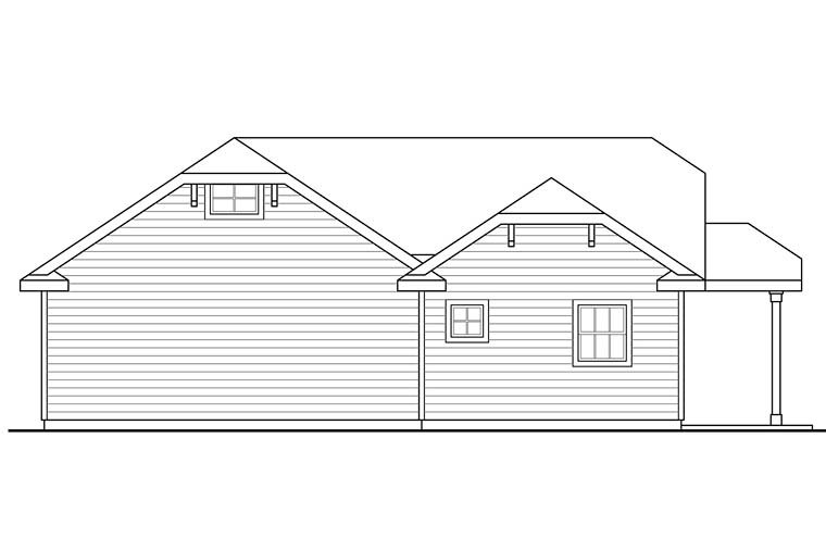 Cottage, Country 2 Car Garage Plan 41276 Rear Elevation