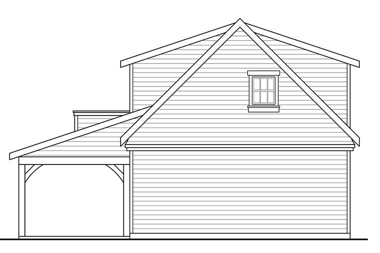 Country, Southern, Traditional 2 Car Garage Plan 41277 Rear Elevation