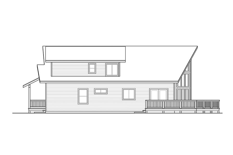 Cabin, Contemporary, Narrow Lot House Plan 41319 with 3 Beds, 2 Baths Picture 1