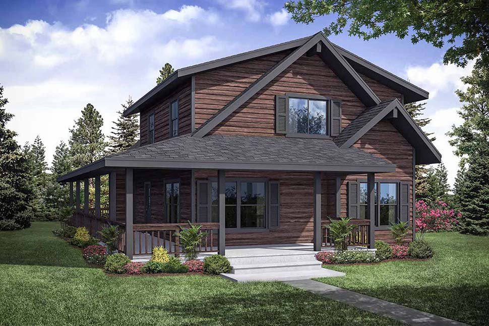 Cabin, Contemporary, Narrow Lot House Plan 41319 with 3 Beds, 2 Baths Rear Elevation