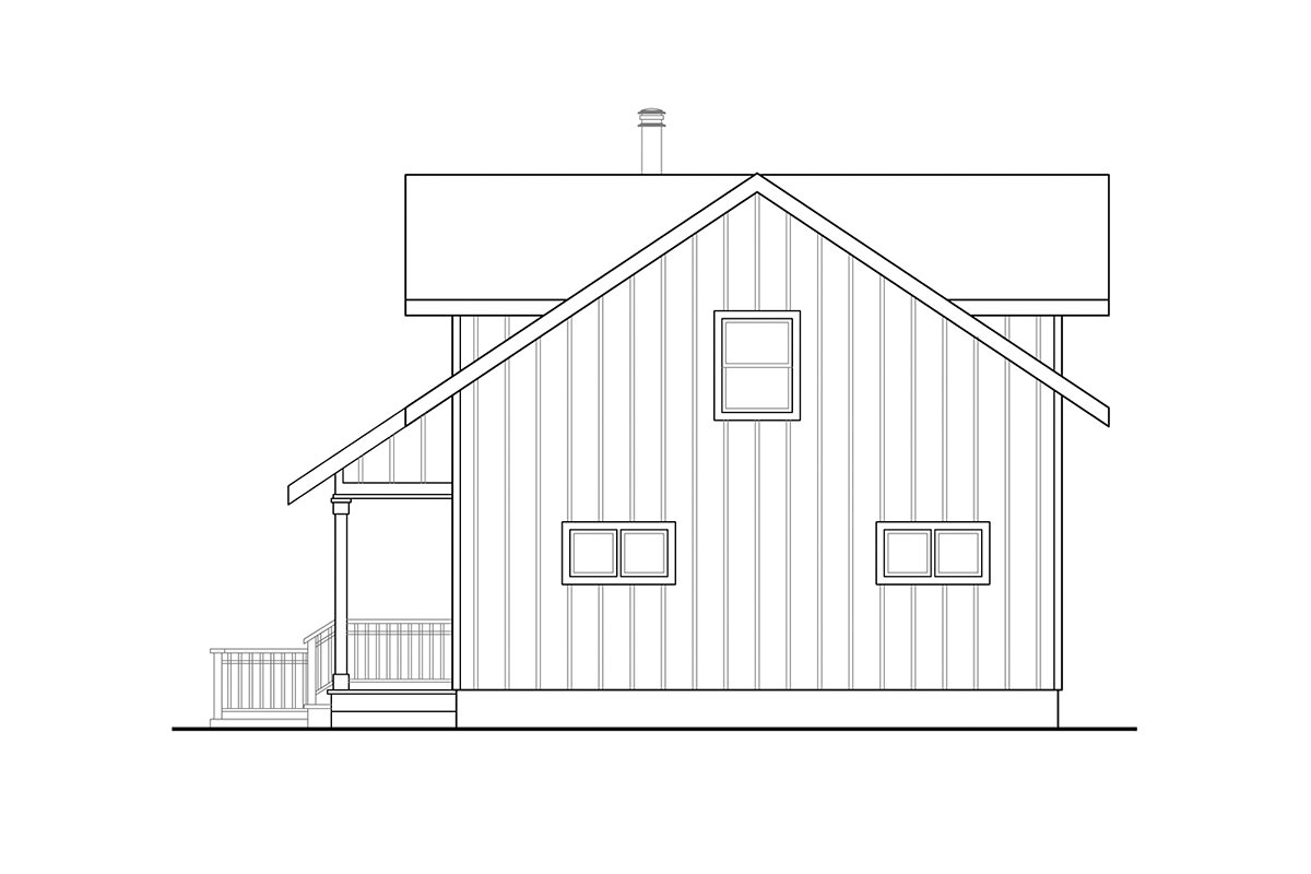 A-Frame House Plan 41336 with 2 Beds, 2 Baths Rear Elevation