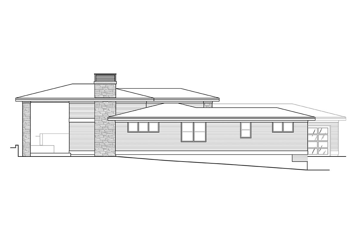 Contemporary, Prairie House Plan 41358 with 3 Beds, 3 Baths, 3 Car Garage Picture 2