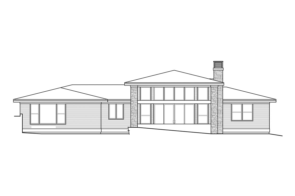 Contemporary, Prairie House Plan 41358 with 3 Beds, 3 Baths, 3 Car Garage Rear Elevation