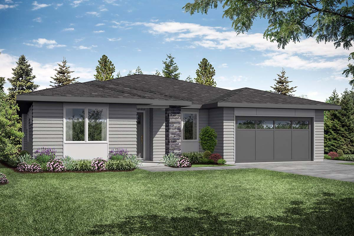 One-Story, Prairie, Ranch, Traditional House Plan 41360 with 3 Beds, 2 Baths, 2 Car Garage Elevation
