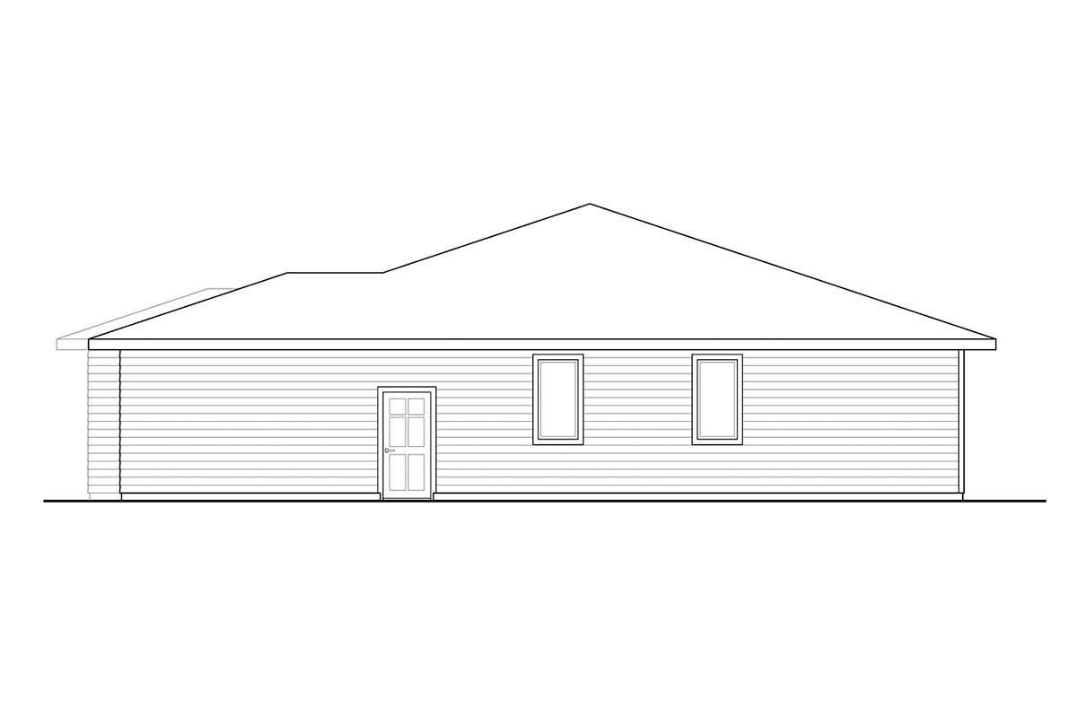One-Story, Prairie, Ranch, Traditional House Plan 41360 with 3 Beds, 2 Baths, 2 Car Garage Picture 1