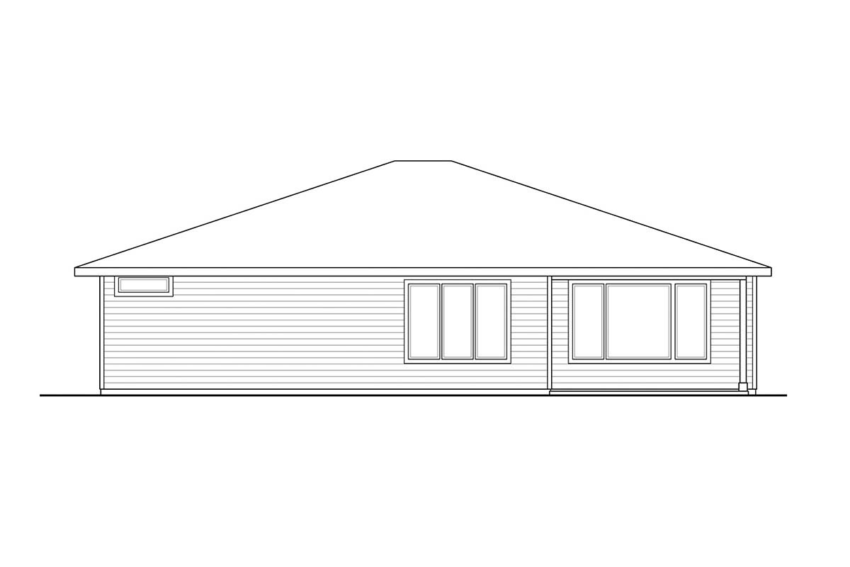 One-Story, Prairie, Ranch, Traditional House Plan 41360 with 3 Beds, 2 Baths, 2 Car Garage Rear Elevation