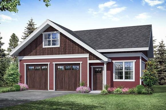 Cottage, Country, Traditional 2 Car Garage Apartment Plan 41363 Elevation