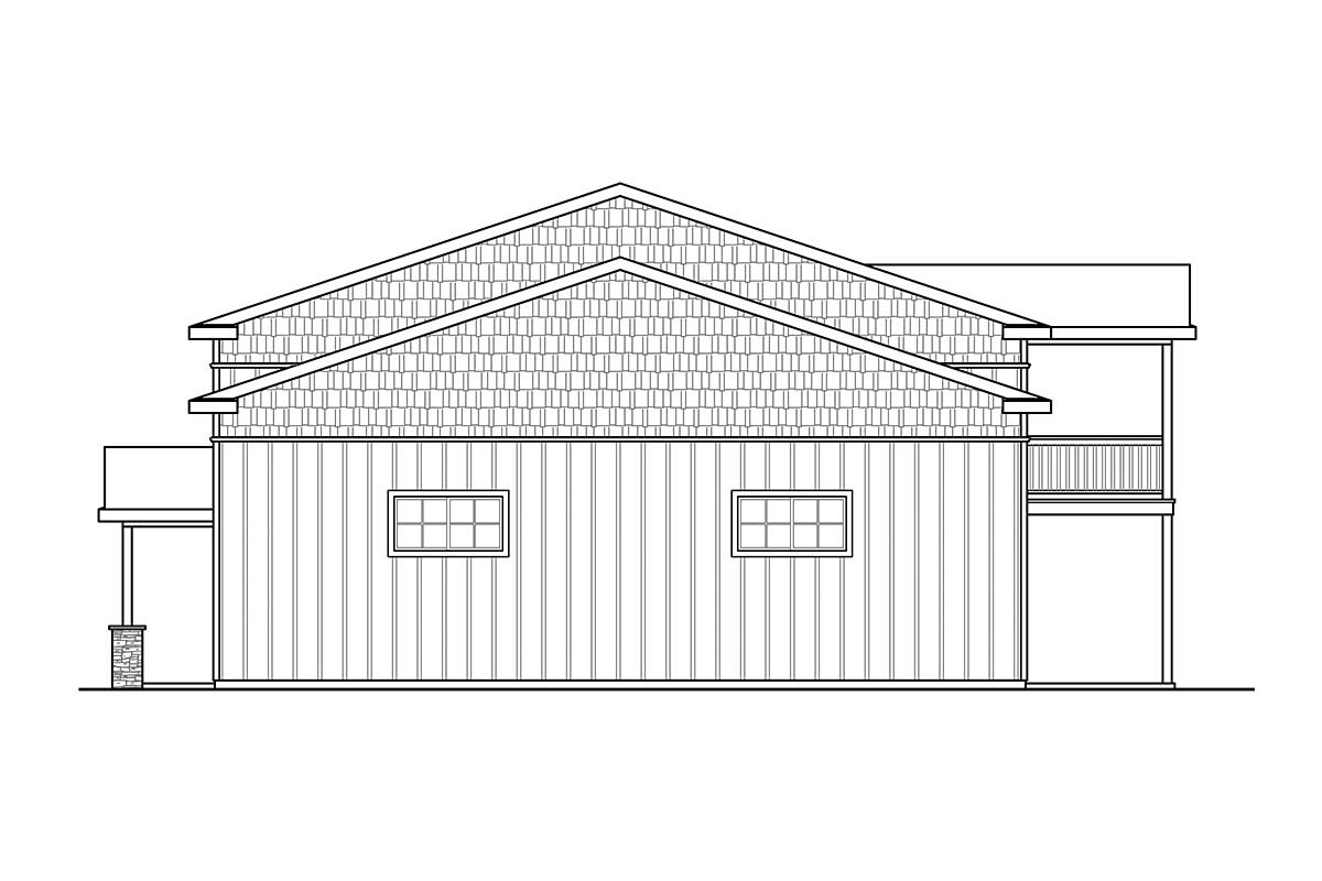 Country, Craftsman 3 Car Garage Apartment Plan 41368 with 1 Beds, 1 Baths, RV Storage Picture 1