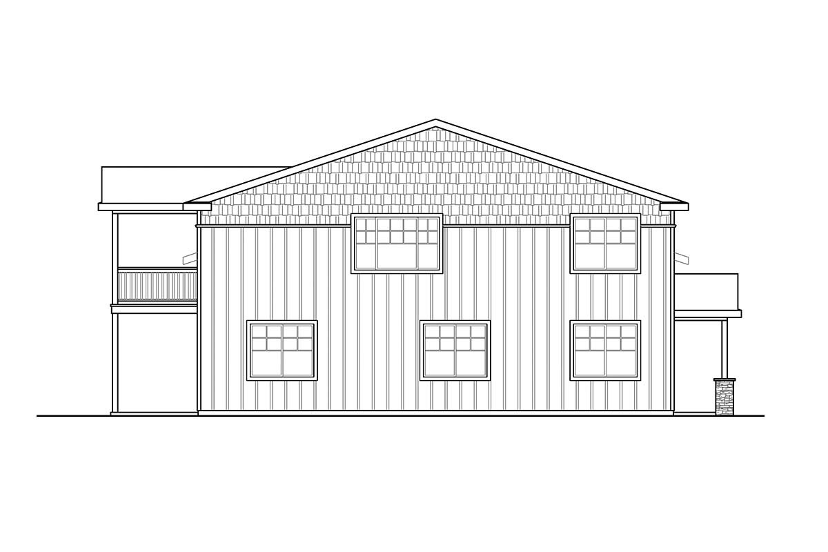 Country, Craftsman 3 Car Garage Apartment Plan 41368 with 1 Beds, 1 Baths, RV Storage Picture 2