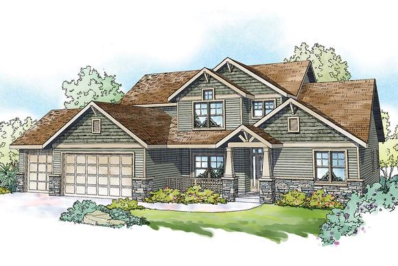 Country, Craftsman, Traditional House Plan 41395 with 5 Beds, 4 Baths, 3 Car Garage Elevation