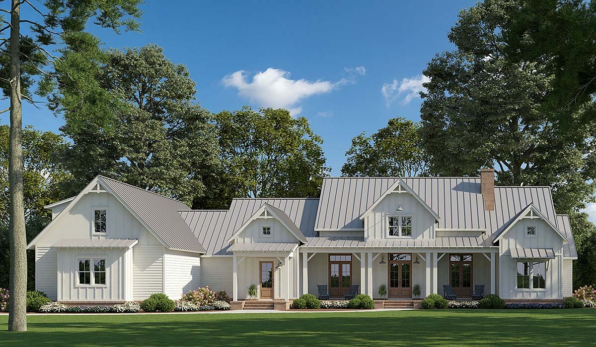 Country, Farmhouse House Plan 41405 with 4 Beds, 4 Baths, 3 Car Garage Elevation