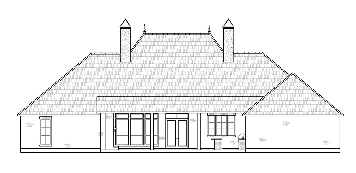 Colonial, European, French Country House Plan 41408 with 4 Beds, 3 Baths, 3 Car Garage Rear Elevation
