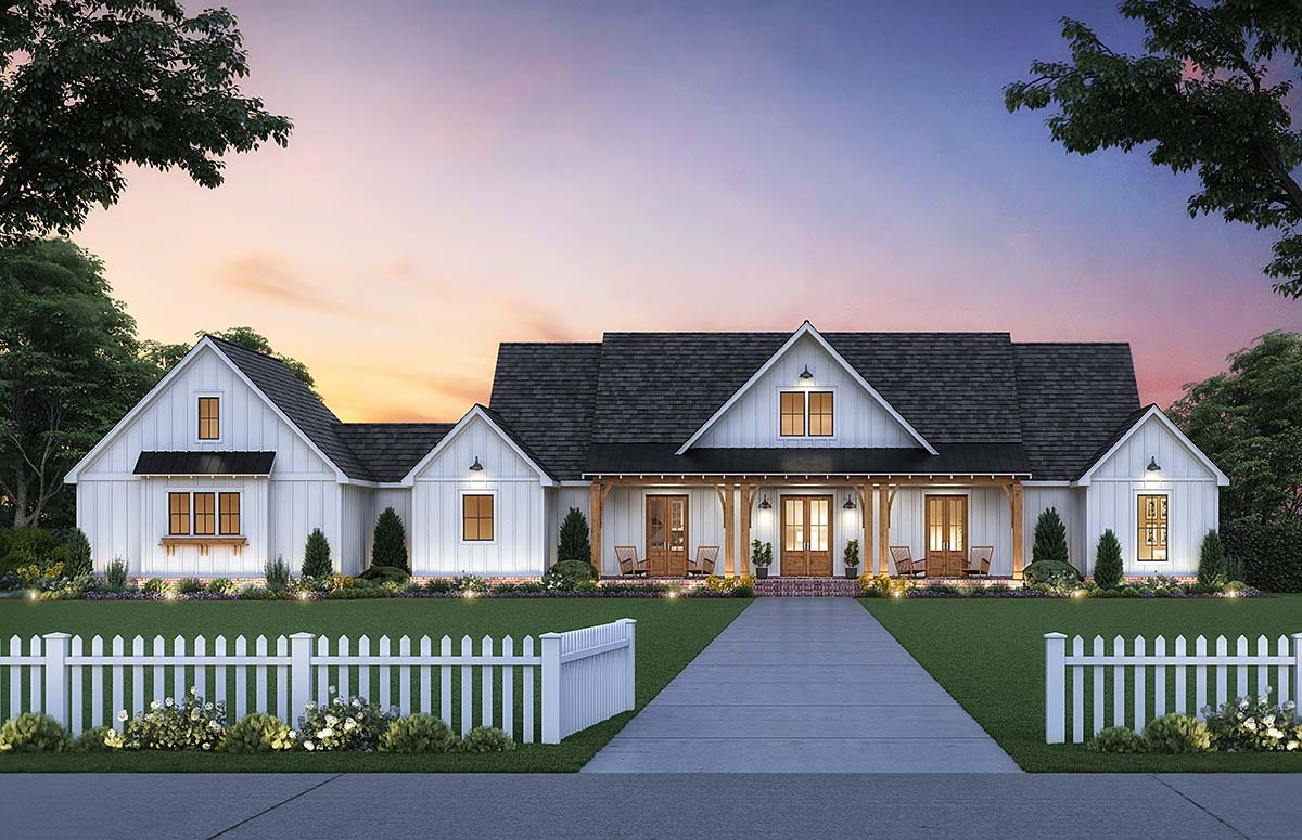 Country, Farmhouse, Traditional House Plan 41412 with 4 Beds, 3 Baths, 2 Car Garage Elevation