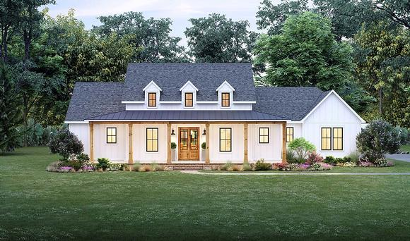 Country, Farmhouse, Southern House Plan 41424 with 4 Beds, 3 Baths, 2 Car Garage Elevation