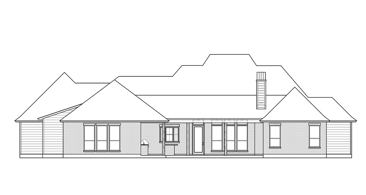 Farmhouse, French Country House Plan 41425 with 4 Beds, 3 Baths, 3 Car Garage Rear Elevation