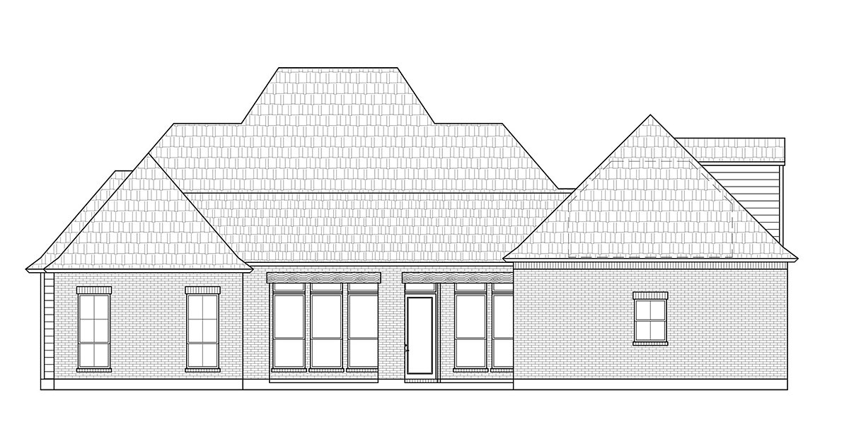 French Country, Southern House Plan 41431 with 4 Beds, 3 Baths, 3 Car Garage Rear Elevation