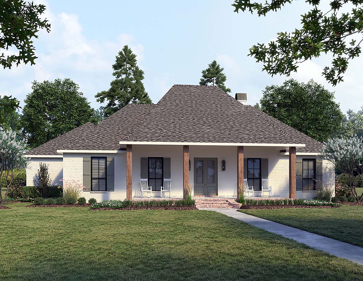 French Country, Southern House Plan 41432 with 4 Beds, 3 Baths, 2 Car Garage Elevation