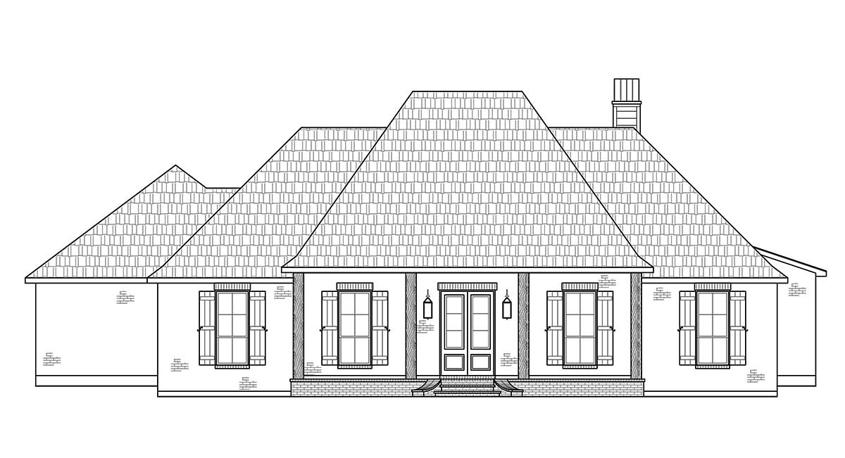 French Country, Southern House Plan 41432 with 4 Beds, 3 Baths, 2 Car Garage Picture 1