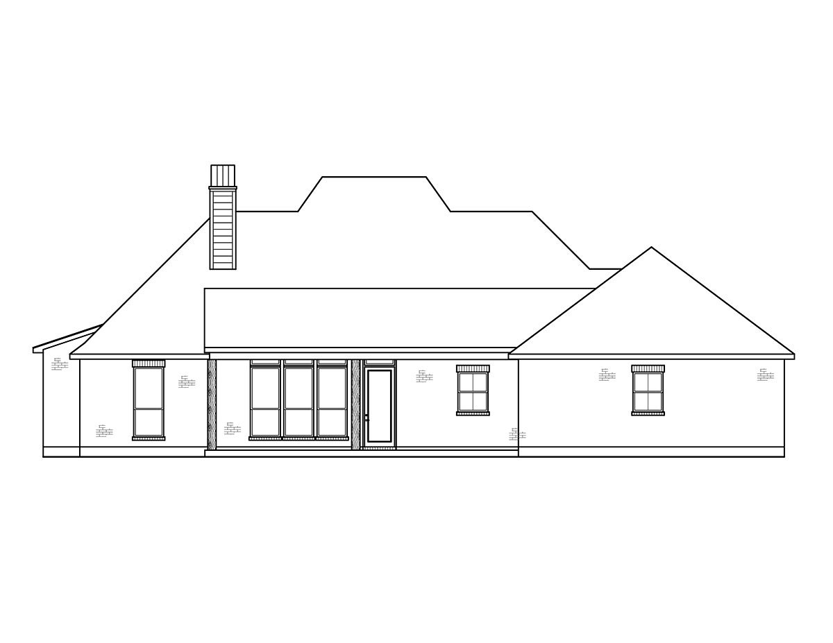 French Country, Southern House Plan 41432 with 4 Beds, 3 Baths, 2 Car Garage Rear Elevation