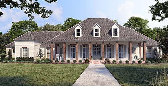 Country, Southern House Plan 41433 with 4 Beds, 4 Baths, 3 Car Garage Elevation