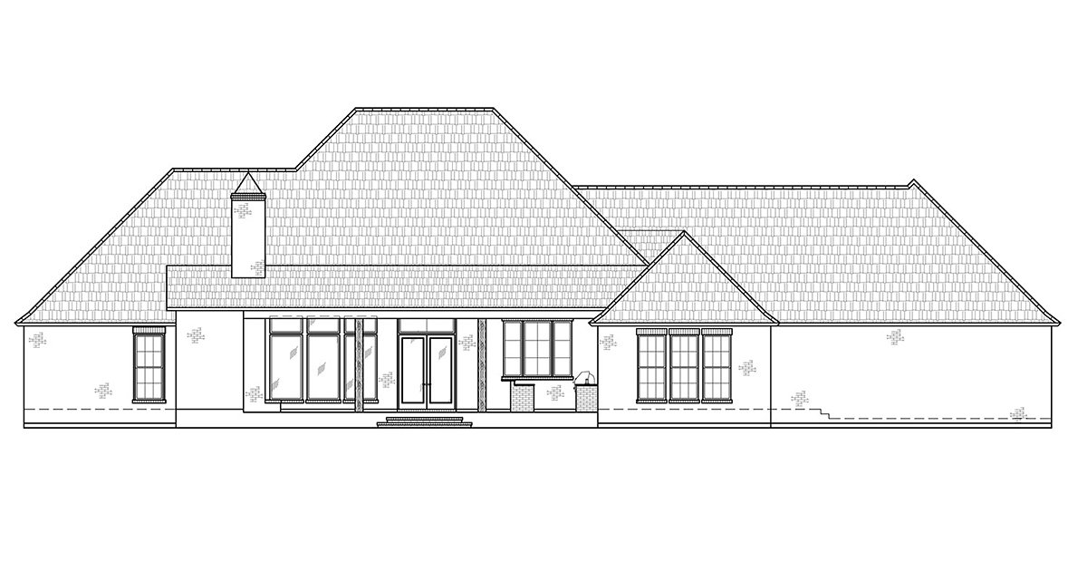 Country, Southern House Plan 41433 with 4 Beds, 4 Baths, 3 Car Garage Rear Elevation