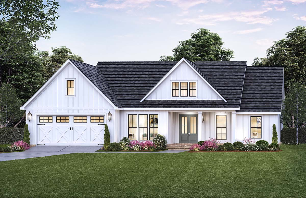 Craftsman, Farmhouse House Plan 41437 with 3 Beds, 2 Baths, 2 Car Garage Elevation