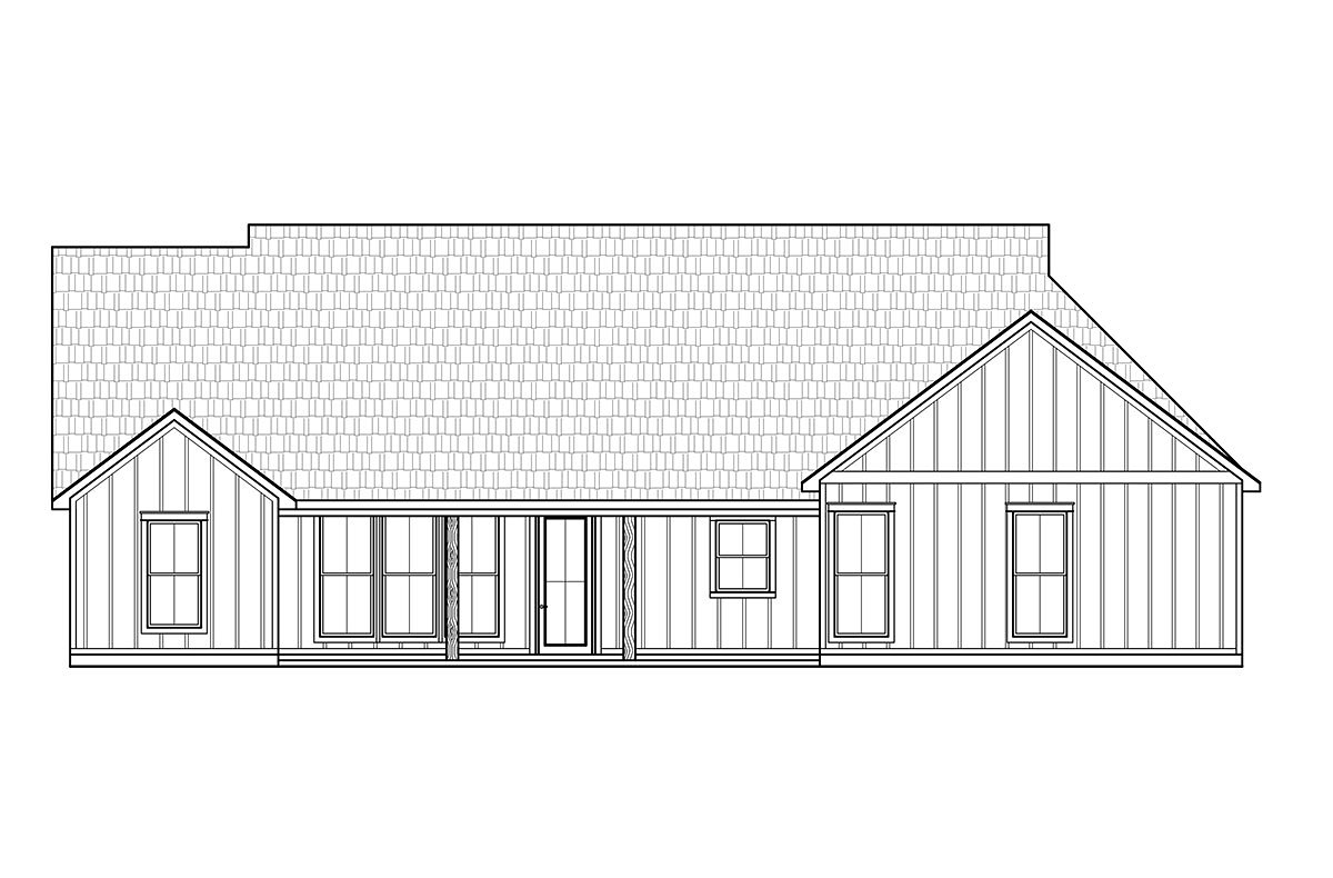 Craftsman, Farmhouse House Plan 41437 with 3 Beds, 2 Baths, 2 Car Garage Rear Elevation