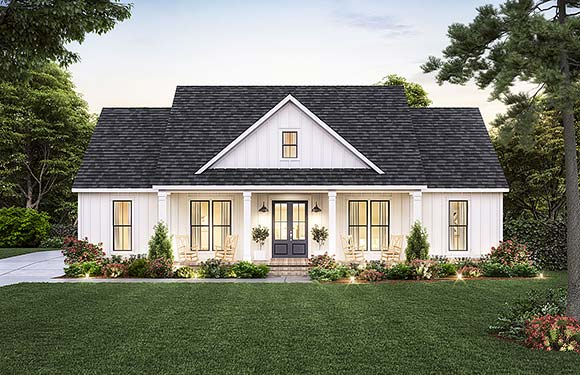 Country, Craftsman, Farmhouse House Plan 41438 with 3 Beds, 3 Baths, 2 Car Garage Elevation