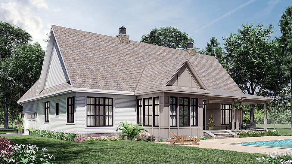 Farmhouse House Plan 41903 with 3 Beds, 3 Baths, 2 Car Garage Picture 3