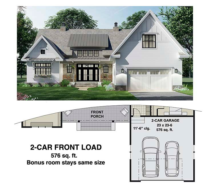 Farmhouse House Plan 41903 with 3 Beds, 3 Baths, 2 Car Garage Picture 5