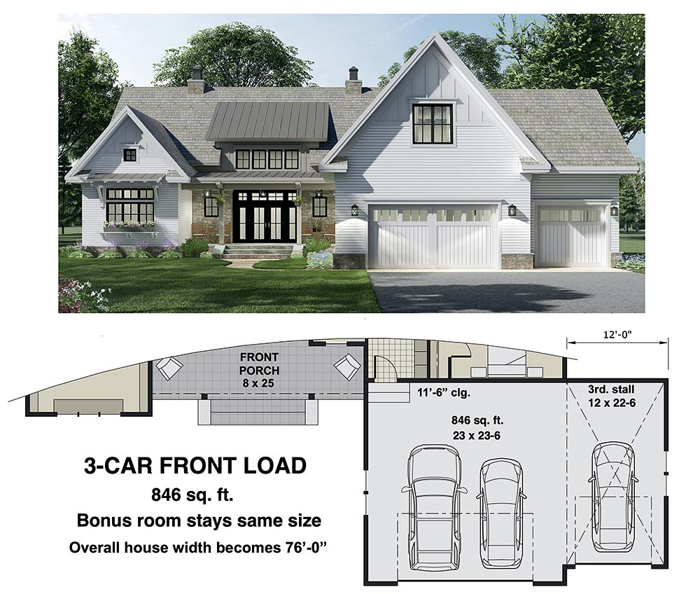 Farmhouse House Plan 41903 with 3 Beds, 3 Baths, 2 Car Garage Picture 6
