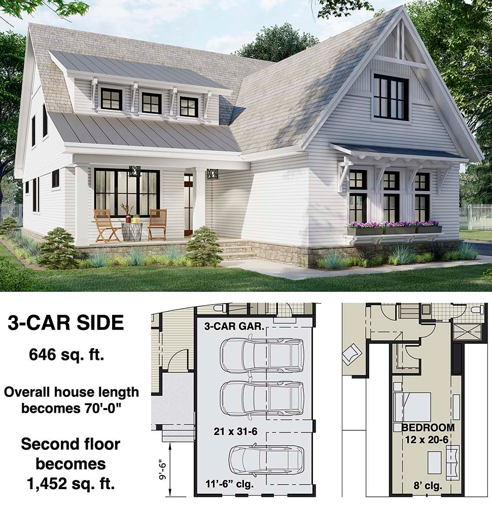 Farmhouse House Plan 41904 with 4 Beds, 4 Baths, 2 Car Garage Picture 6