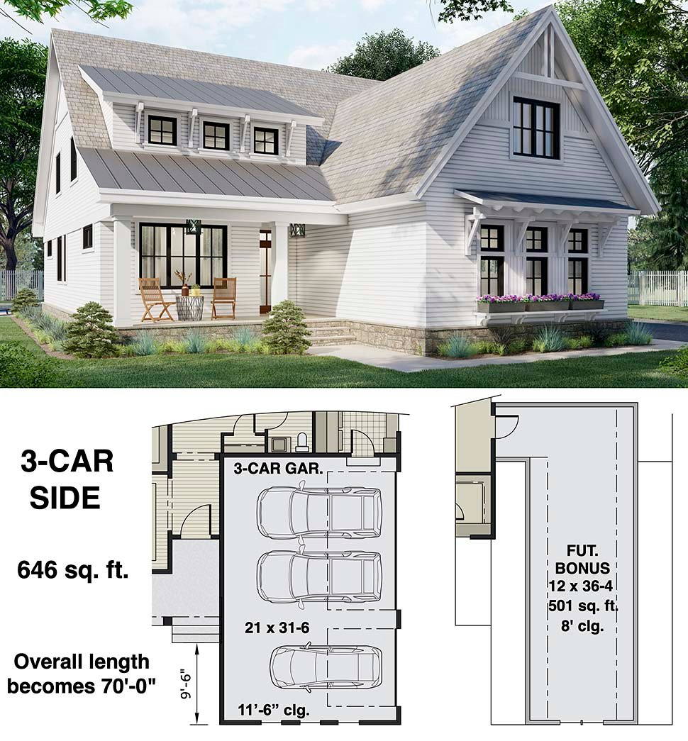 Farmhouse House Plan 41905 with 3 Beds, 3 Baths, 2 Car Garage Picture 6