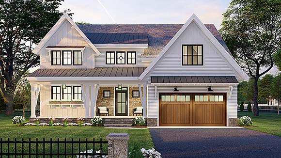 Farmhouse House Plan 41907 with 4 Beds, 4 Baths, 2 Car Garage Elevation