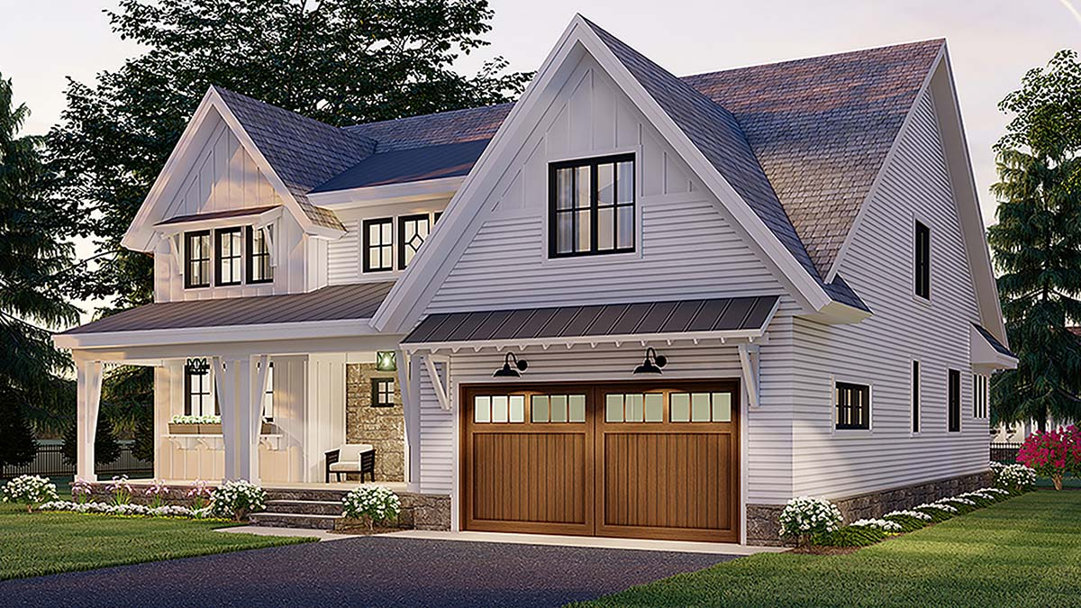 Farmhouse House Plan 41907 with 4 Beds, 4 Baths, 2 Car Garage Picture 1