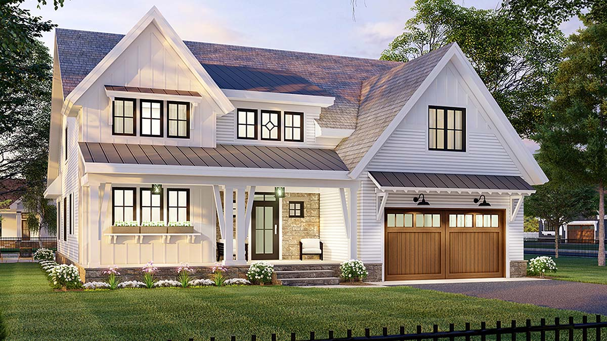 Farmhouse House Plan 41907 with 4 Beds, 4 Baths, 2 Car Garage Picture 2