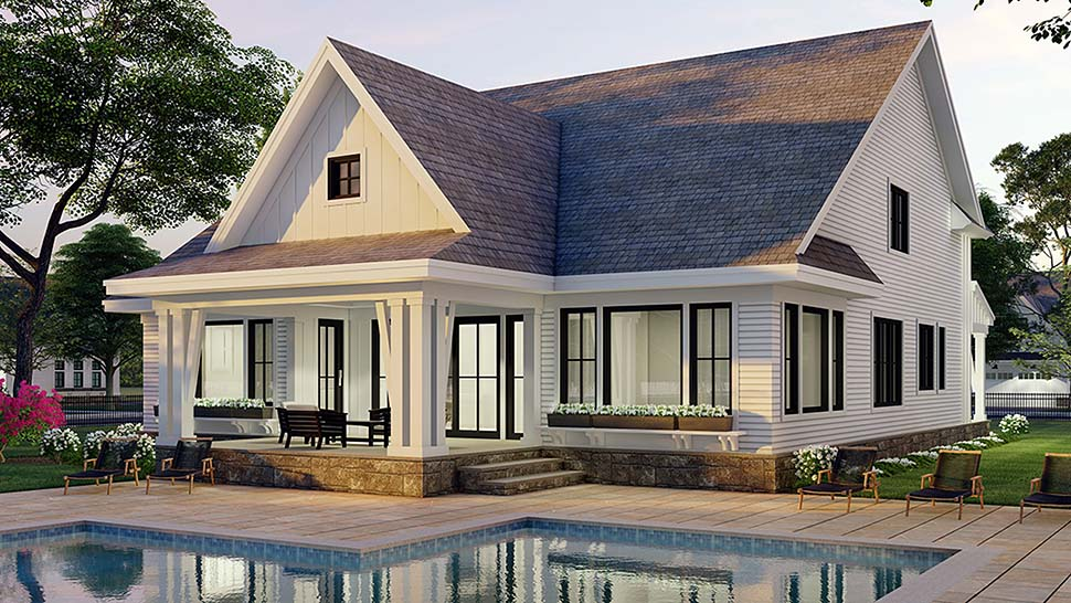 Farmhouse House Plan 41907 with 4 Beds, 4 Baths, 2 Car Garage Picture 4