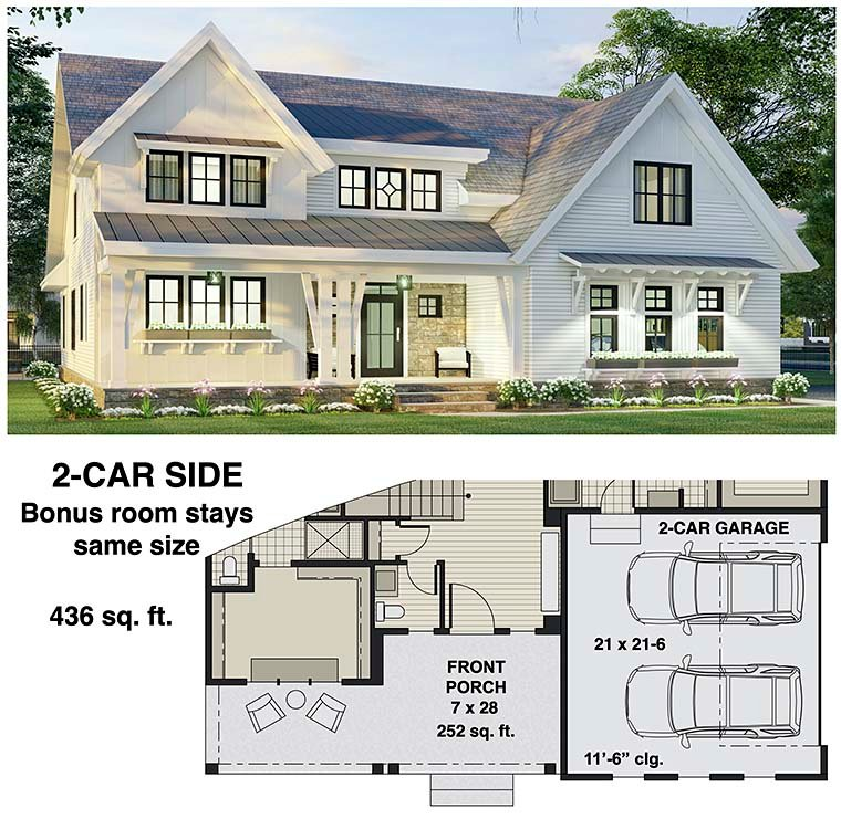 Farmhouse House Plan 41907 with 4 Beds, 4 Baths, 2 Car Garage Picture 5