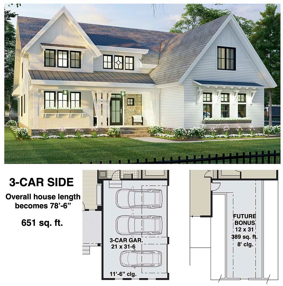 Farmhouse House Plan 41907 with 4 Beds, 4 Baths, 2 Car Garage Picture 6