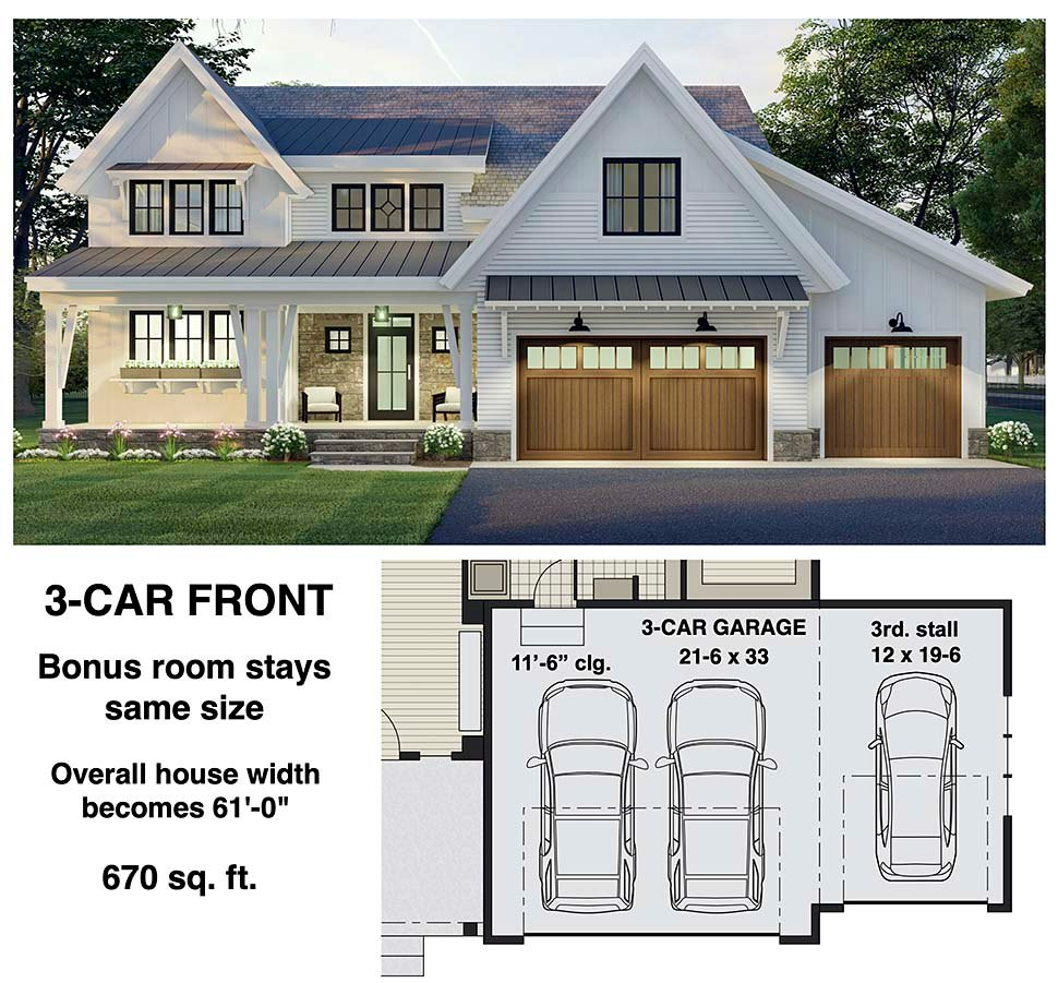 Farmhouse House Plan 41907 with 4 Beds, 4 Baths, 2 Car Garage Picture 7