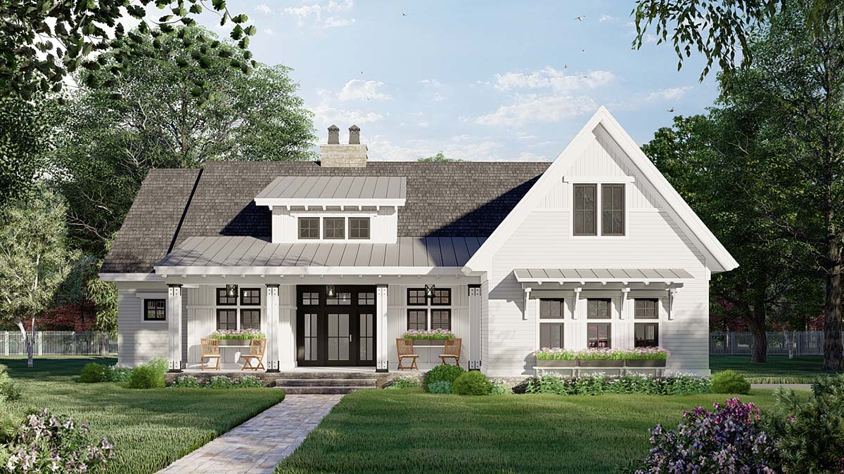 Farmhouse House Plan 41909 with 3 Beds, 2 Baths, 2 Car Garage Elevation