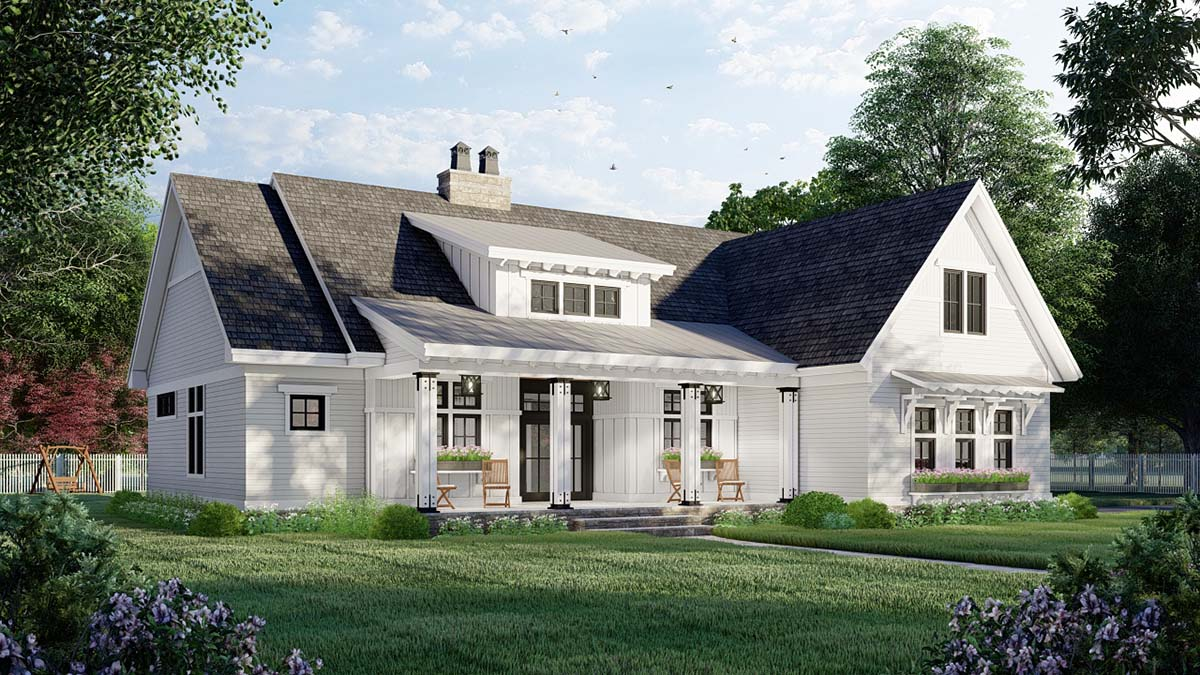 Farmhouse House Plan 41909 with 3 Beds, 2 Baths, 2 Car Garage Picture 2