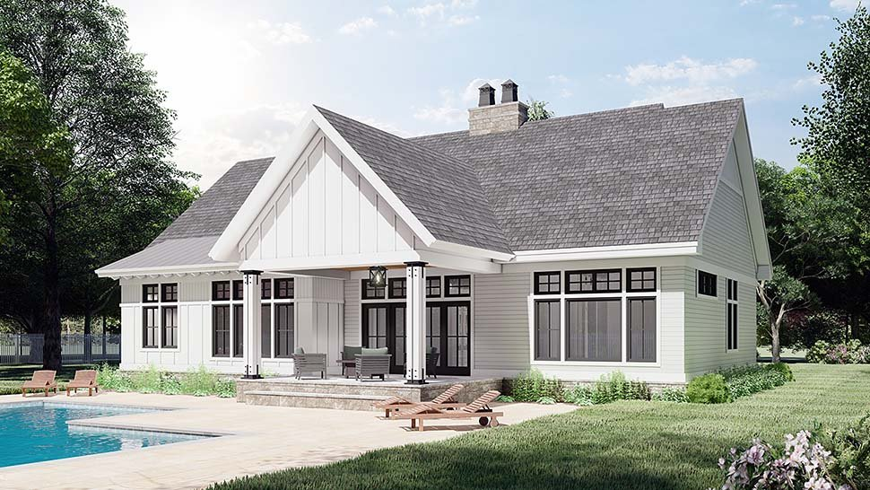 Farmhouse House Plan 41909 with 3 Beds, 2 Baths, 2 Car Garage Picture 4
