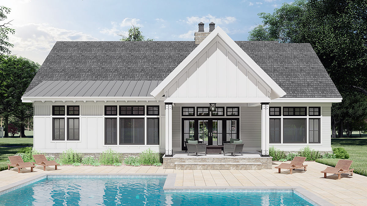 Farmhouse House Plan 41909 with 3 Beds, 2 Baths, 2 Car Garage Rear Elevation